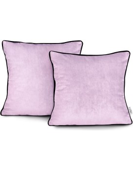 Povlaky na polštáře AmeliaHome Velvet Piping růžové