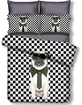 Povlečení z mikrovlákna DecoKing Doggie černo-bílé