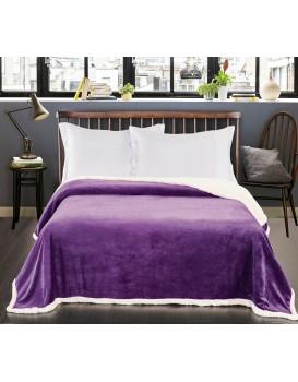 Oboustranný přehoz na postel DecoKing Teddy fialový