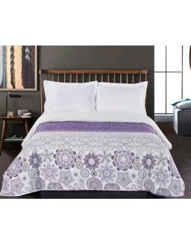 Oboustranný přehoz na postel DecoKing Alhambra fialový/bílý