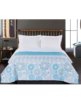 Obojstranný prehoz na posteľ DecoKing Alhambra tyrkysový/biely