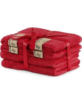 Súprava 2 osušiek a 4 uterákov DecoKing Bella červená