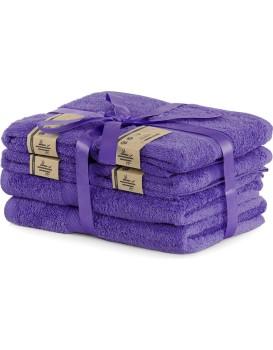 Súprava 2 osušiek a 4 uterákov DecoKing Bella fialová