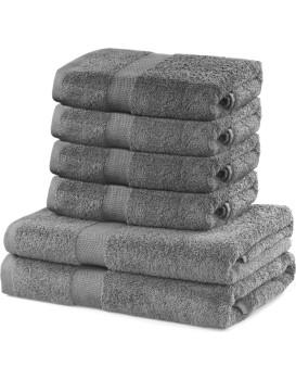 Súprava 2 osušiek a 4 uterákov DecoKing Ginna sivá