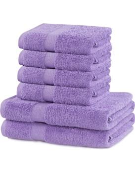 Súprava 2 osušiek a 4 uterákov DecoKing Ginna fialová