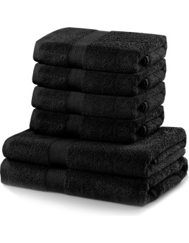Sada 2 osušek a 4 ručníků DecoKing Ginna černé
