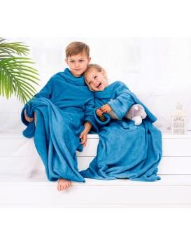 Dětská deka s rukávy DecoKing Lazy tmavě modrá