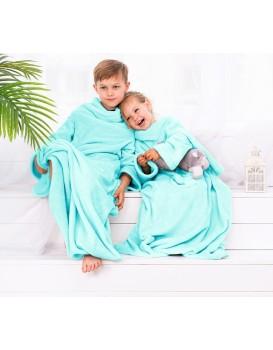Detská deka s rukávmi DecoKing Lazy tyrkysová