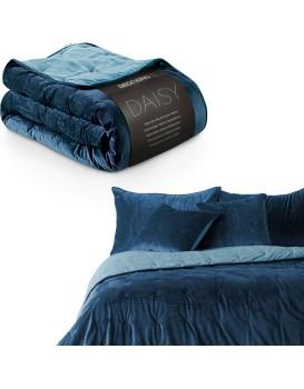 Oboustranný přehoz na postel DecoKing Daisy modrý
