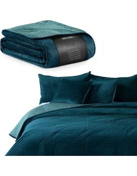 Obojstranný prehoz na posteľ Pascali modrý/morský