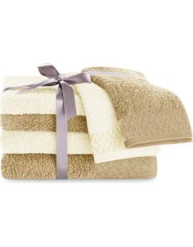 Sada bavlněných ručníků DecoKing Andrea krémová/béžová