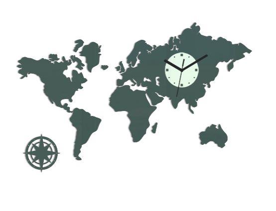 3D nalepovací hodiny Continents šedé