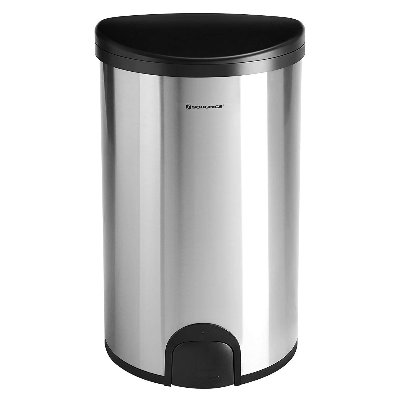 Odpadkový koš s víkem SAM 50 L stříbrný