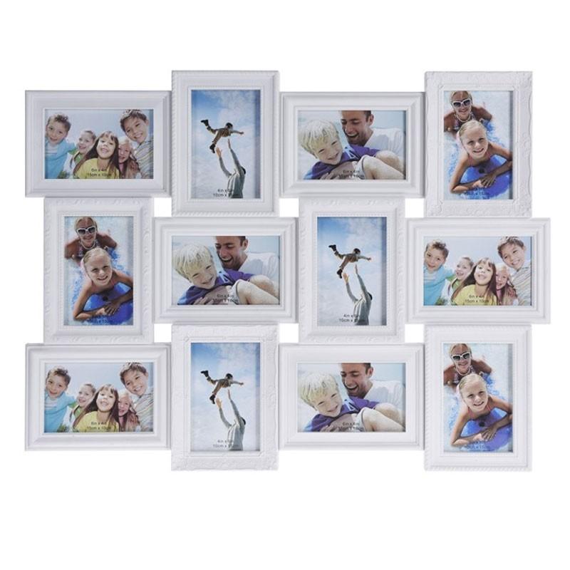 Fotorámeček na stěnu 12 fotografií - 10 x 15 cm bílá
