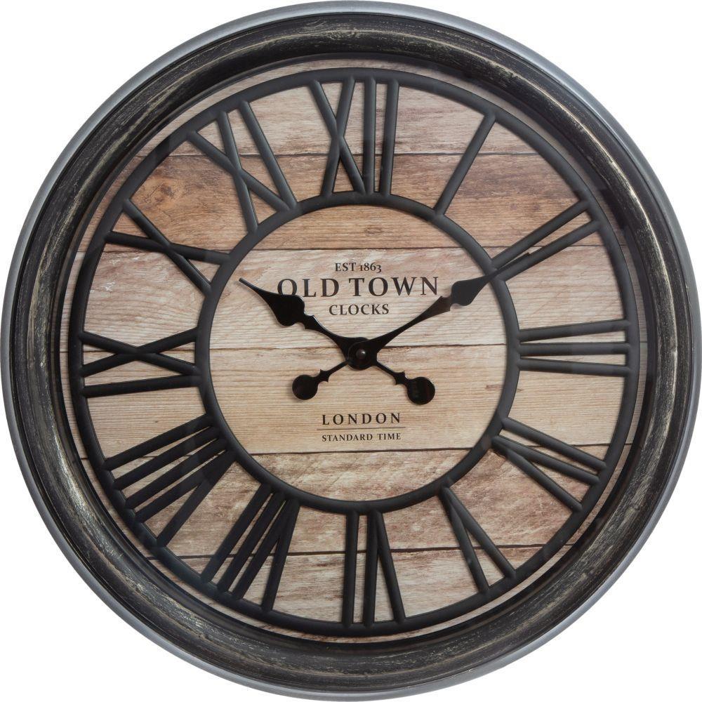 3D nástěnné hodiny Old Town 50 cm hnědé