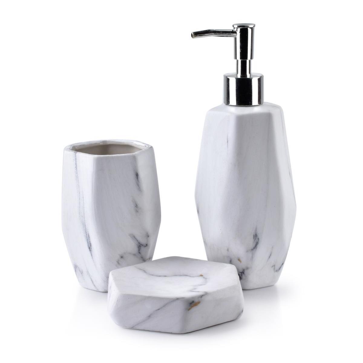 Sada koupelnových doplňků Odette Hexa bílá