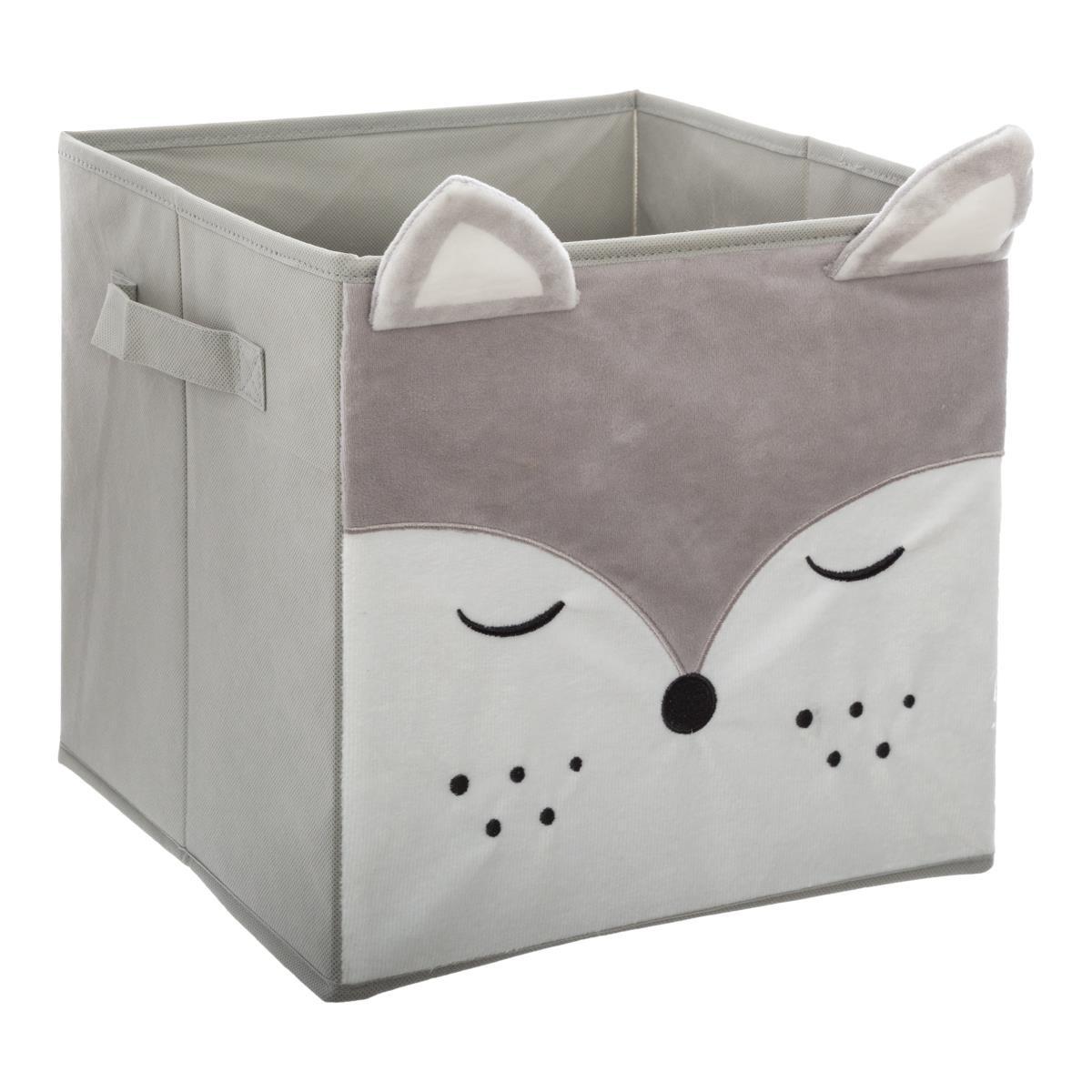 Textilní krabice na hračky Lis šedá