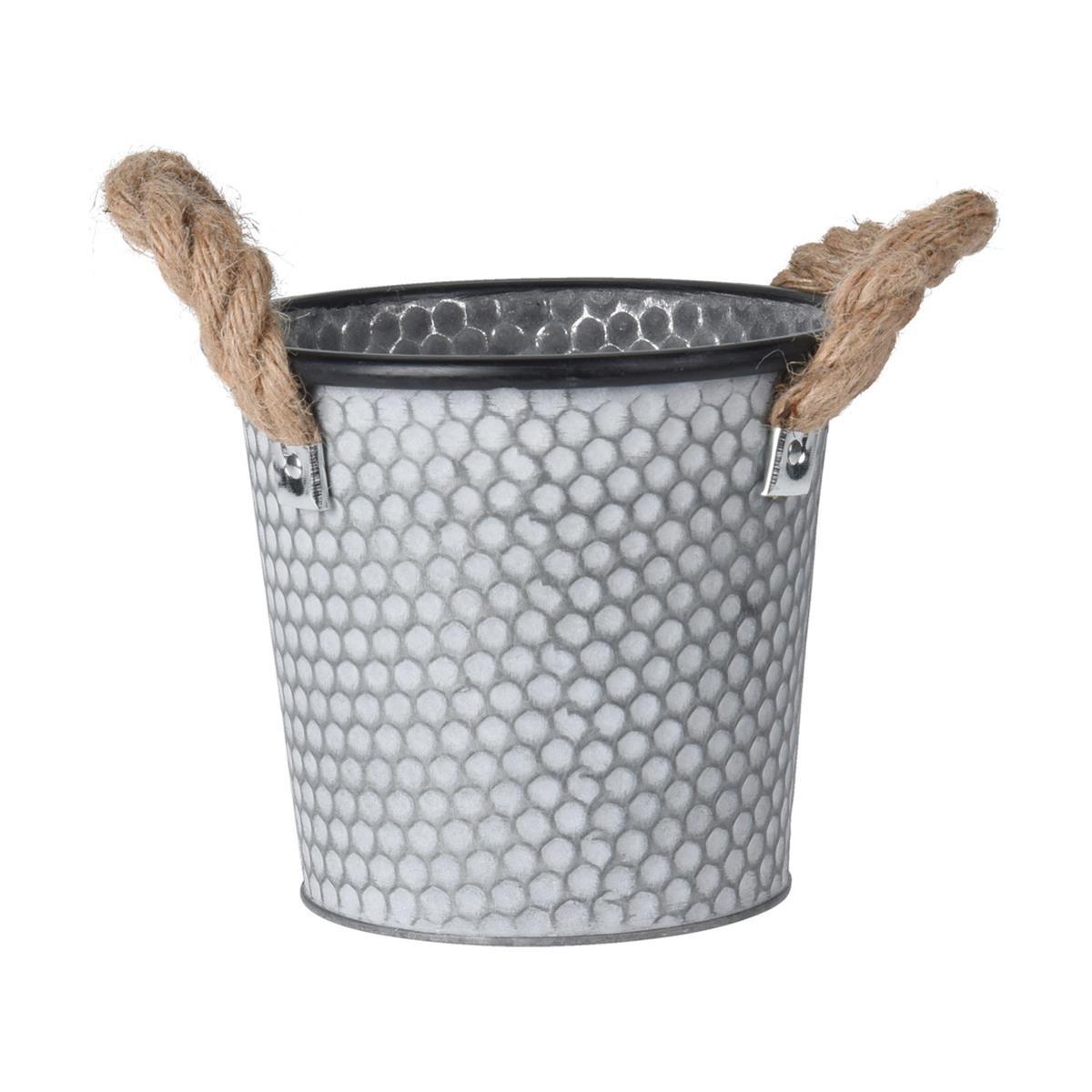 Zinkový obal na květináč s držadly Lissa šedý