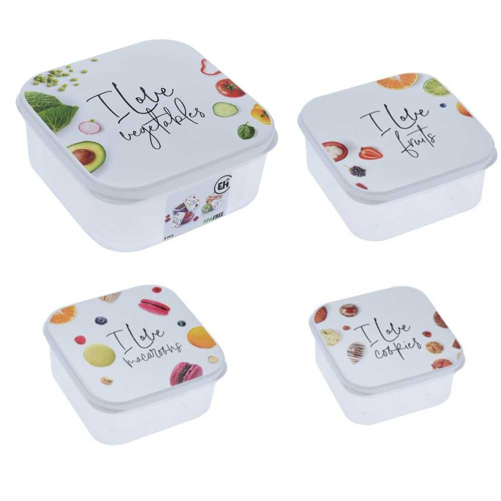 Dóza na potraviny Love bílé - 4 kusy