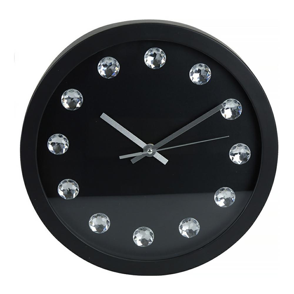 Nástěnné hodiny s kameny černé
