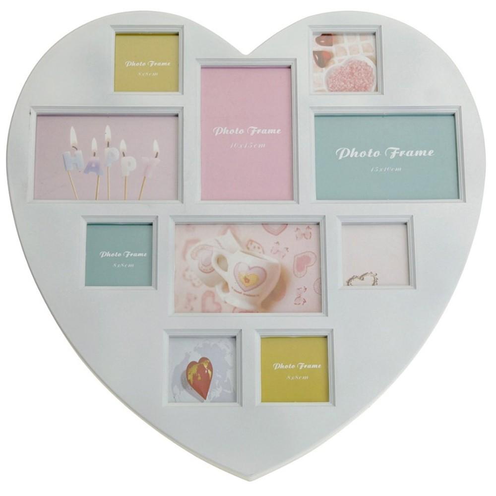 Rámeček na stěnu - 10 fotografií ve tvaru srdce - bílá