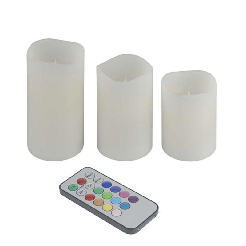Sada 3 svíce LED s dálkovým ovládáním
