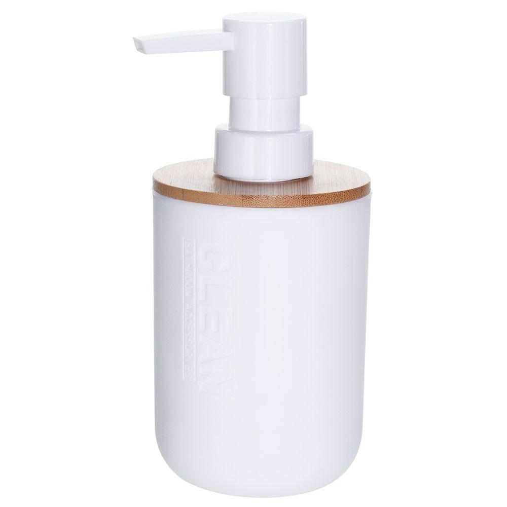 Biely zásobník na tekuté mydlo s bambusovým viečkom