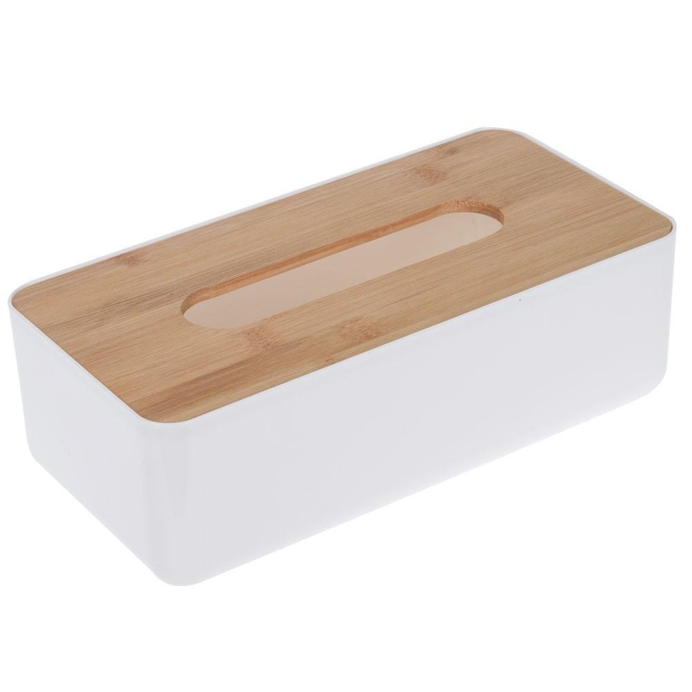 Nádoba na ubrousky-bílá, bambus