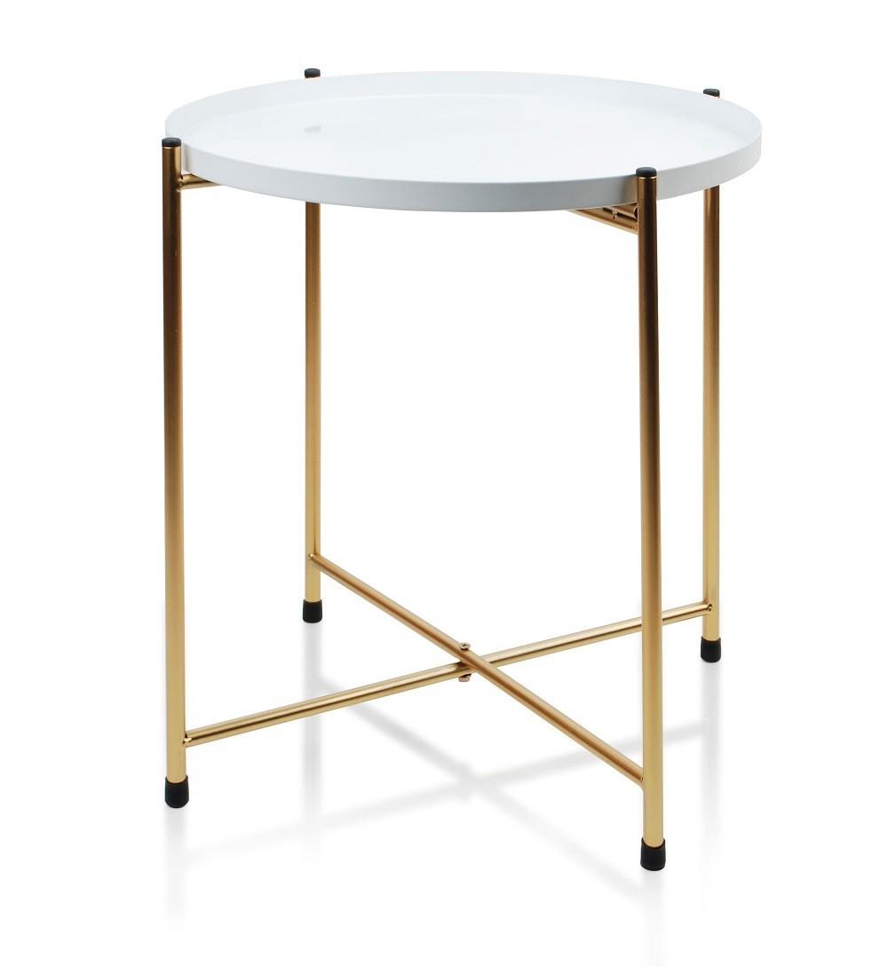 Konferenční stolek Lucas- bílo-zlatý
