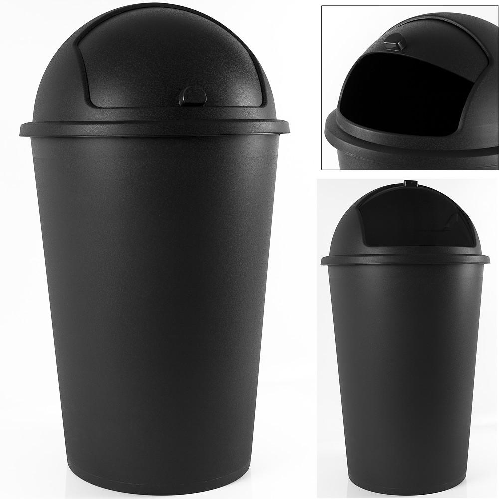 Odpadkový koš s posuvným víkem Bengi 50L černý