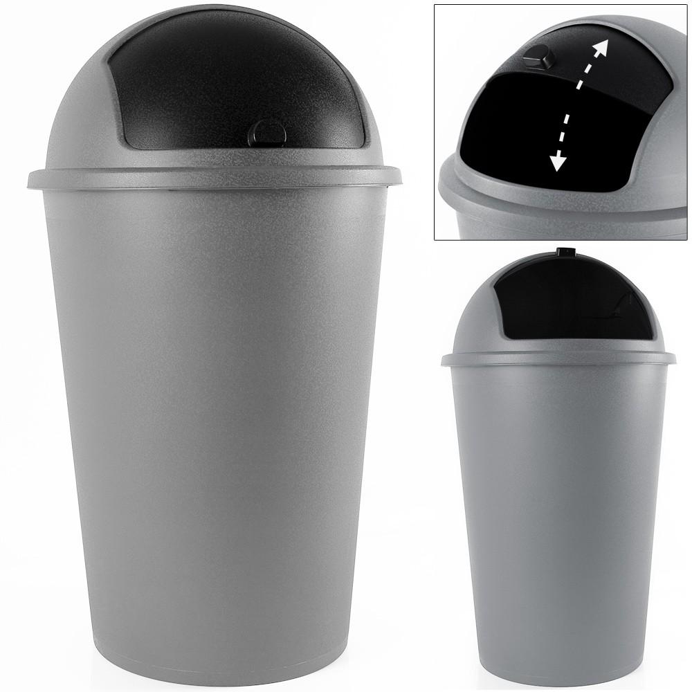 Odpadkový koš s posuvným víkem Bengi 50L šedý