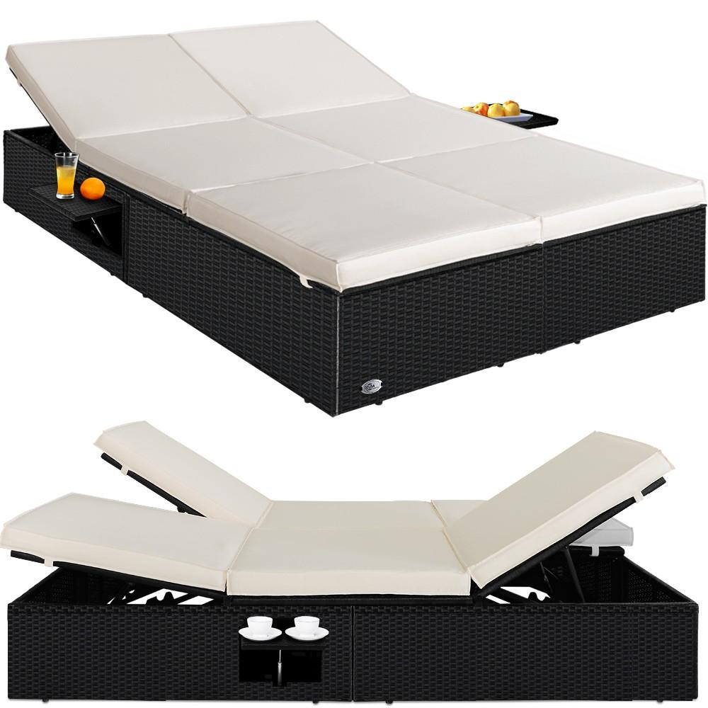 Nastavitelná polyratanová zahradní postel Peria krémovo-černá