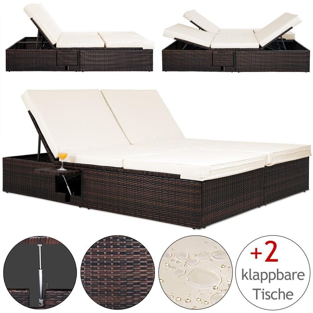 Nastavitelná polyratanová zahradní postel Lili krémovo-černá