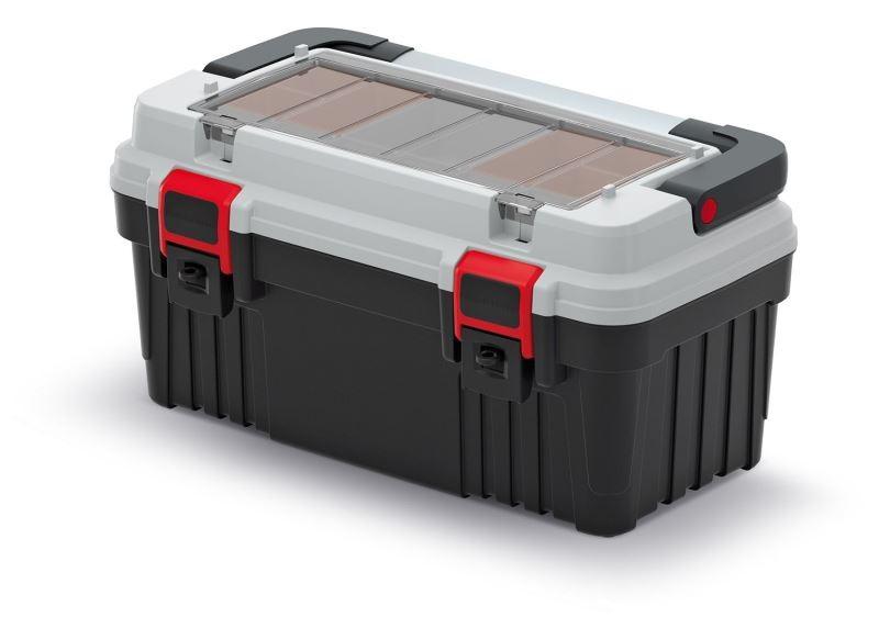 Kufr na nářadí s kovovým držadlem, plastovými zámky a vnější přihrádkou s krabičkami TIMO šedý