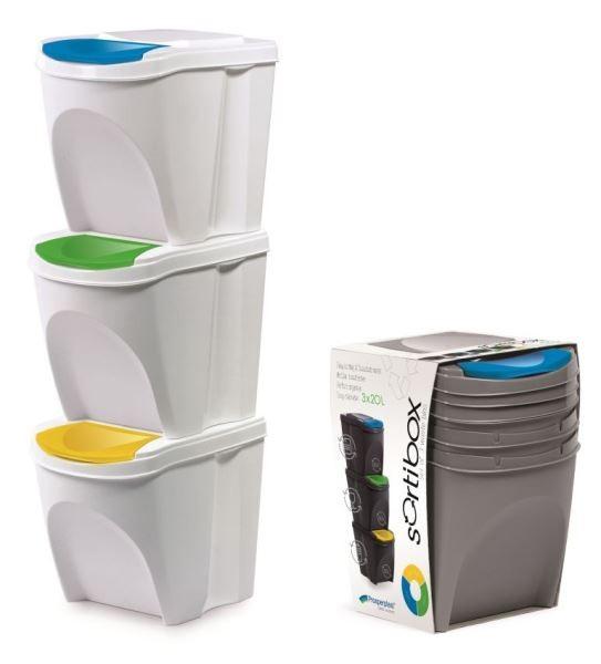 Sada 3 odpadkových košů 3x25 L DEILA bílá