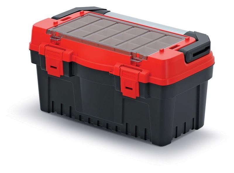 Kufr na nářadí s kovovým držadlem, plastovými zámky a vnější přihrádkou s krabičkami EVO černo-červený