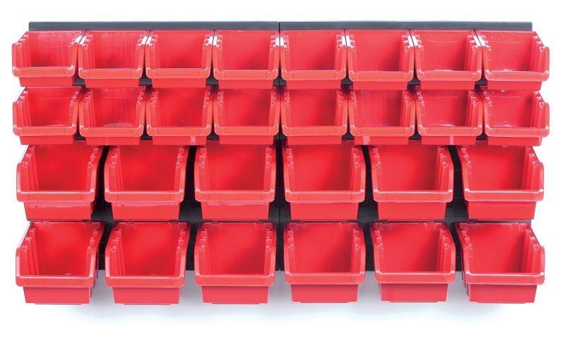Závěsný organizér s 28 boxy ORDERLINE 80x16,5x40 cm černo-červený
