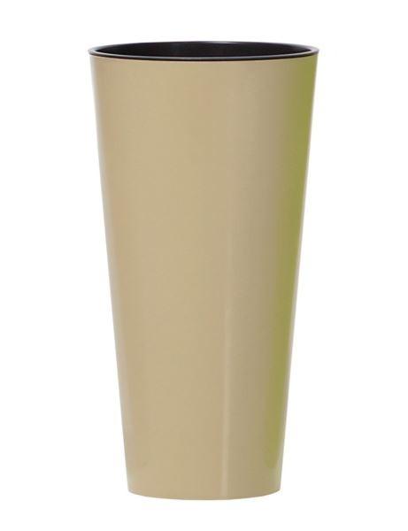 Květináč Tubus Slimmer světle hnědý lesklý