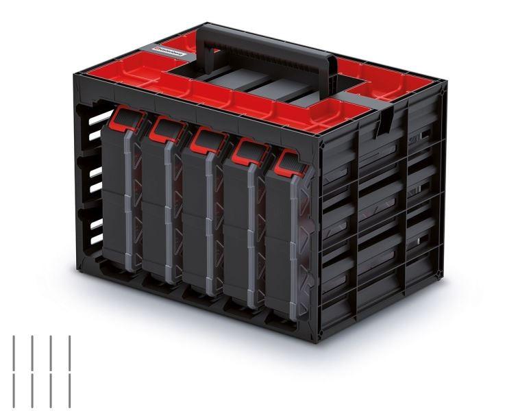Úložný box s 5 organizéry IMPOSE 41,5x29x29 cm černo-červený