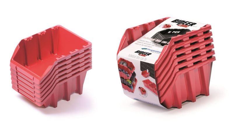 Set úložných boxů 6ks BINLONG SET 249x158x213 červený