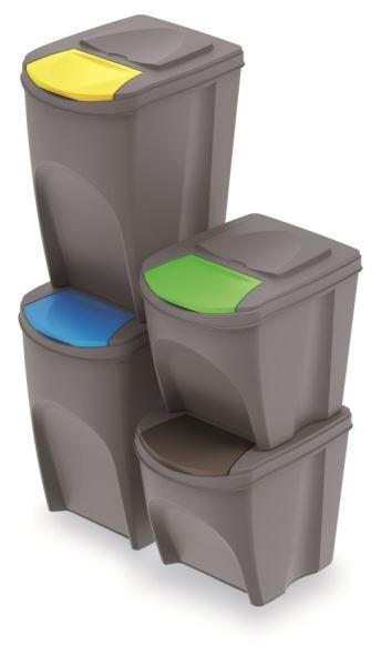 Sada 4 odpadkových košů DEILA 2x25 L a 2x35 L šedá