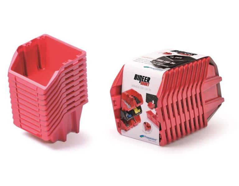 Set úložných boxů 10ks BINSHORT SET 288x158x187 červený