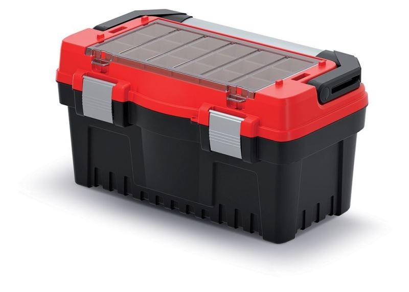 Kufr na nářadí s kovovým držadlem, kovovými zámky a vnější přihrádkou s krabičkami EVO černo-červený