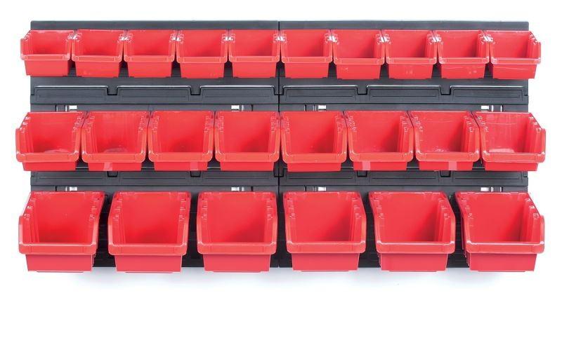 Závěsný organizér s 24 boxy ORDERLINE 80x16,5x40 cm černo-červený
