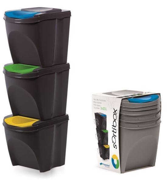 Sada 3 odpadkových košů 3x25 L DEILA antracit