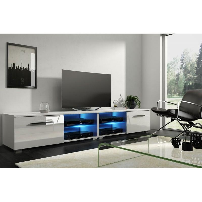 TV stolek Moony 200 cm bílý lesk