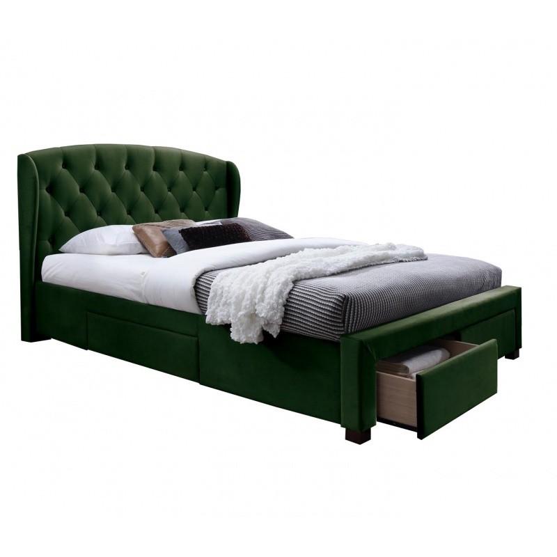 Čalouněná postel Sabrina 160x200 dvoulůžko - zelené