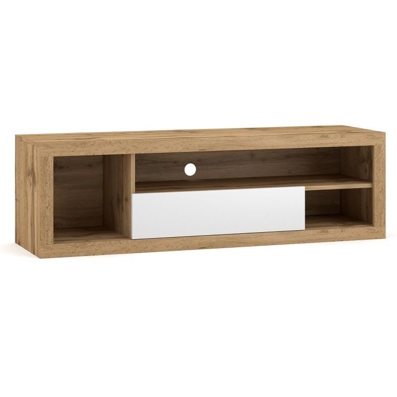 TV stolek Ever 140 cm dub wotan/bílý