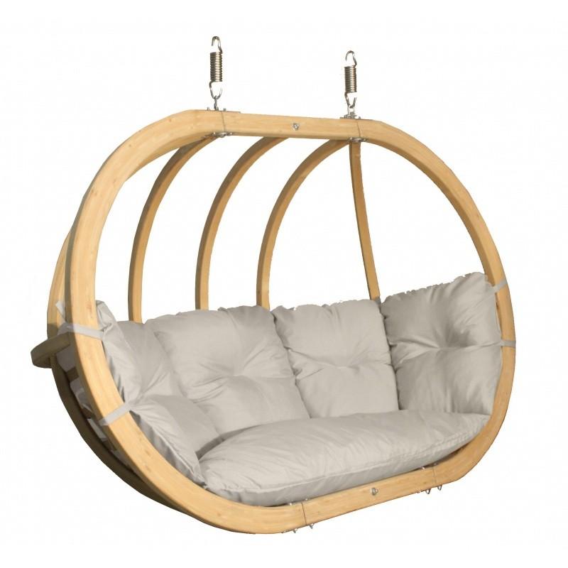 Dvojité závěsné houpací křeslo O-Zone Premier Swing Pod béžové