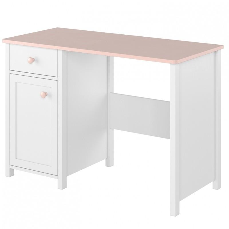 Psací stůl Lunna 110 cm bílý/růžový